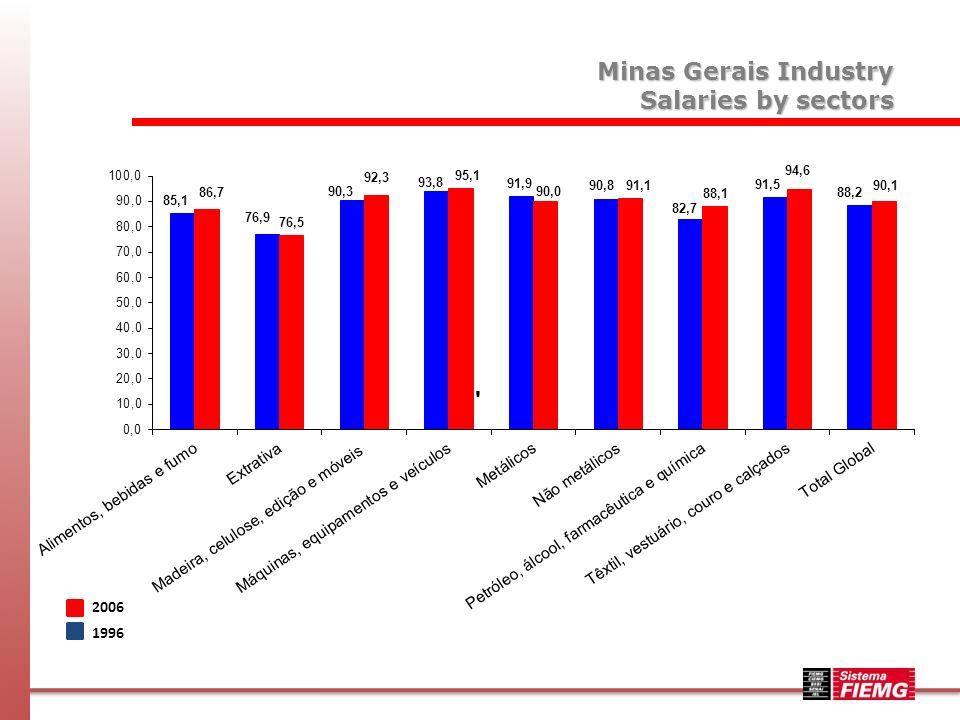 Minas Gerais Industry Value of Industrial Transformation - VTI 2006 1996