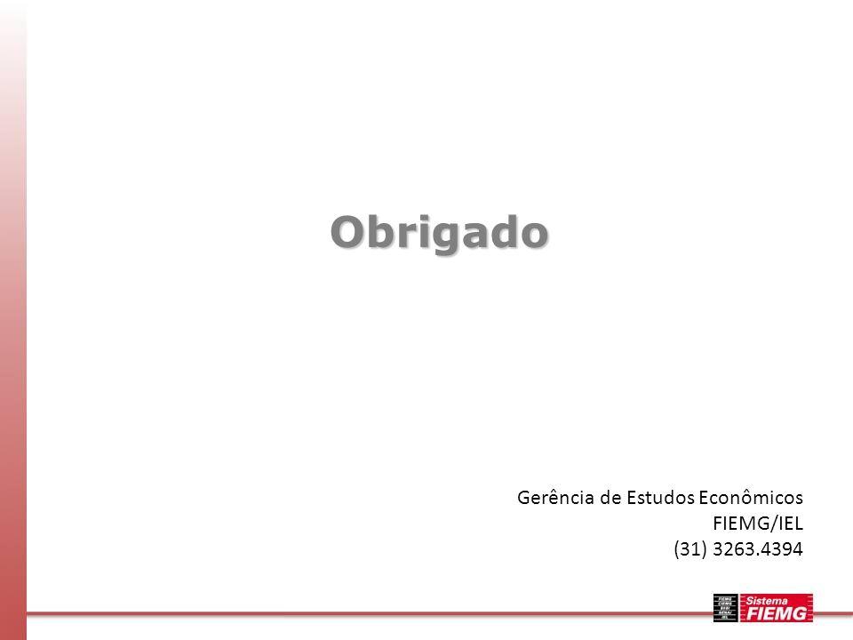 Obrigado Gerência de Estudos Econômicos FIEMG/IEL (31) 3263.4394