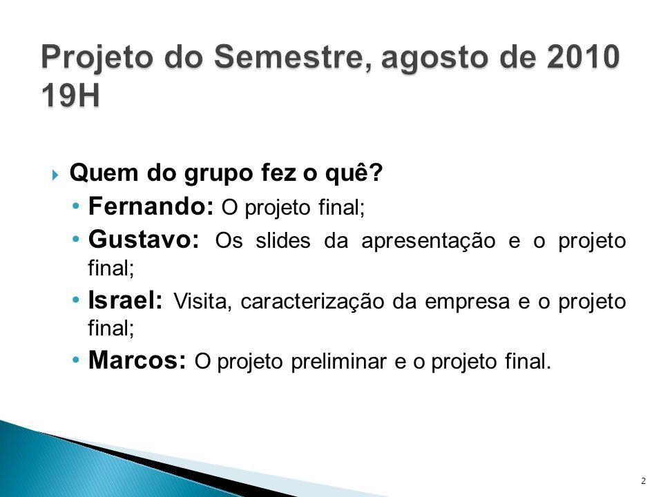 Quem do grupo fez o quê? Fernando: O projeto final; Gustavo: Os slides da apresentação e o projeto final; Israel: Visita, caracterização da empresa e