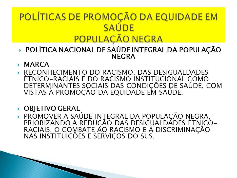 POLÍTICA NACIONAL DE SAÚDE INTEGRAL DA POPULAÇÃO NEGRA MARCA RECONHECIMENTO DO RACISMO, DAS DESIGUALDADES ÉTNICO-RACIAIS E DO RACISMO INSTITUCIONAL COMO DETERMINANTES SOCIAIS DAS CONDIÇÕES DE SAÚDE, COM VISTAS À PROMOÇÃO DA EQÜIDADE EM SAÚDE.