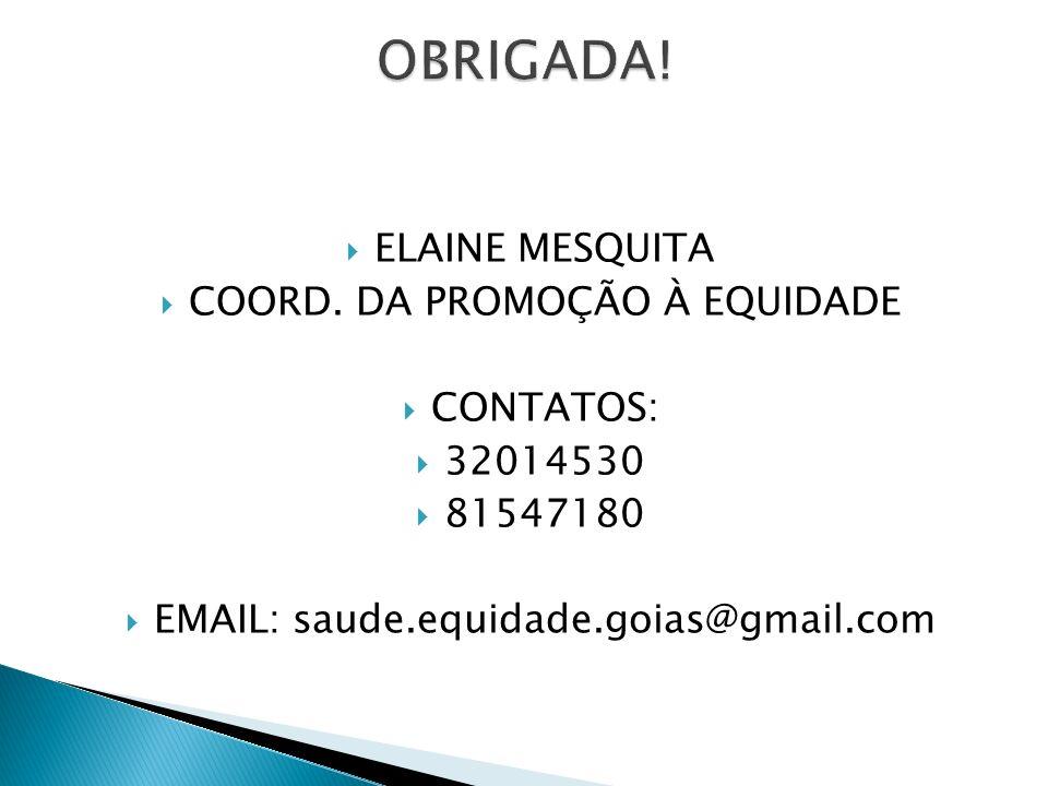 ELAINE MESQUITA COORD. DA PROMOÇÃO À EQUIDADE CONTATOS: 32014530 81547180 EMAIL: saude.equidade.goias@gmail.com
