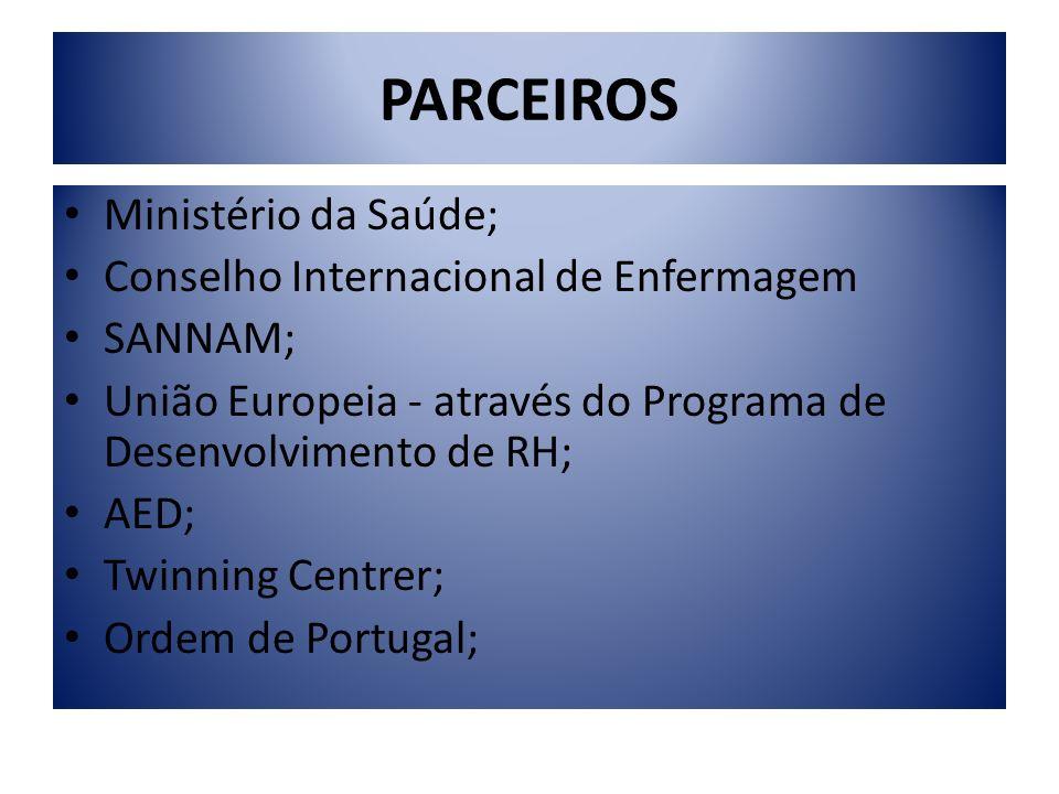 PARCEIROS Ministério da Saúde; Conselho Internacional de Enfermagem SANNAM; União Europeia - através do Programa de Desenvolvimento de RH; AED; Twinni