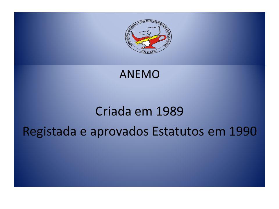ANEMO Criada em 1989 Registada e aprovados Estatutos em 1990