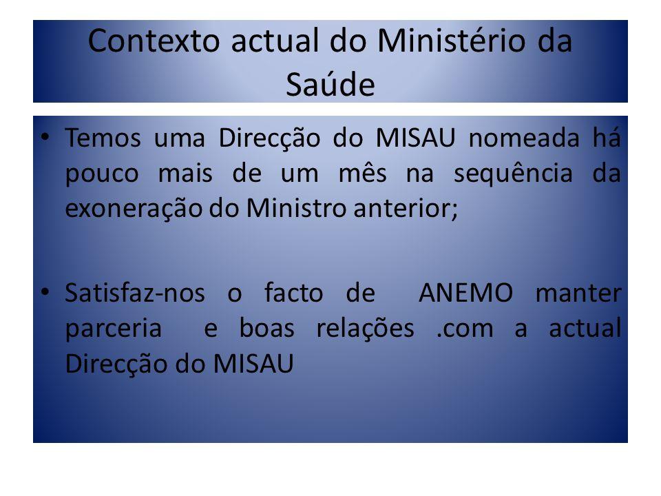 Contexto actual do Ministério da Saúde Temos uma Direcção do MISAU nomeada há pouco mais de um mês na sequência da exoneração do Ministro anterior; Sa