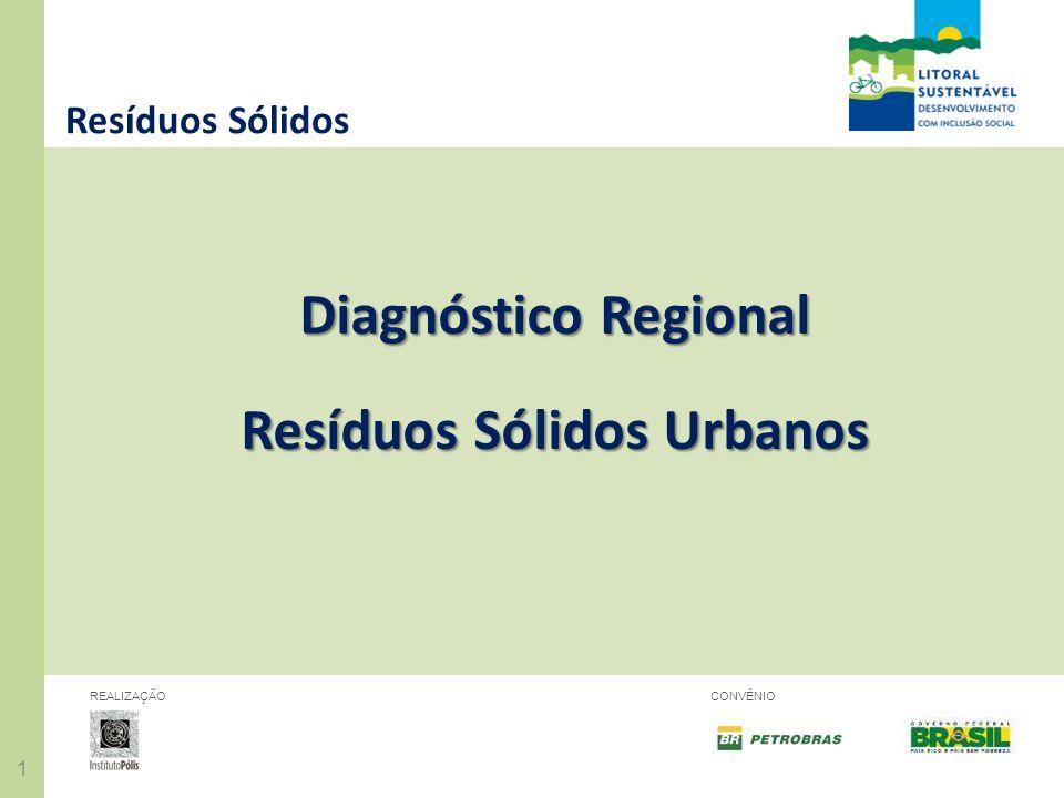 11 REALIZAÇÃOCONVÊNIO Resíduos Sólidos Diagnóstico Regional Resíduos Sólidos Urbanos