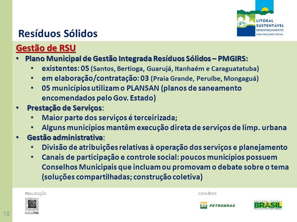 10 REALIZAÇÃOCONVÊNIO Resíduos Sólidos Gestão de RSU Plano Municipal de Gestão Integrada Resíduos Sólidos – PMGIRS: Plano Municipal de Gestão Integrad