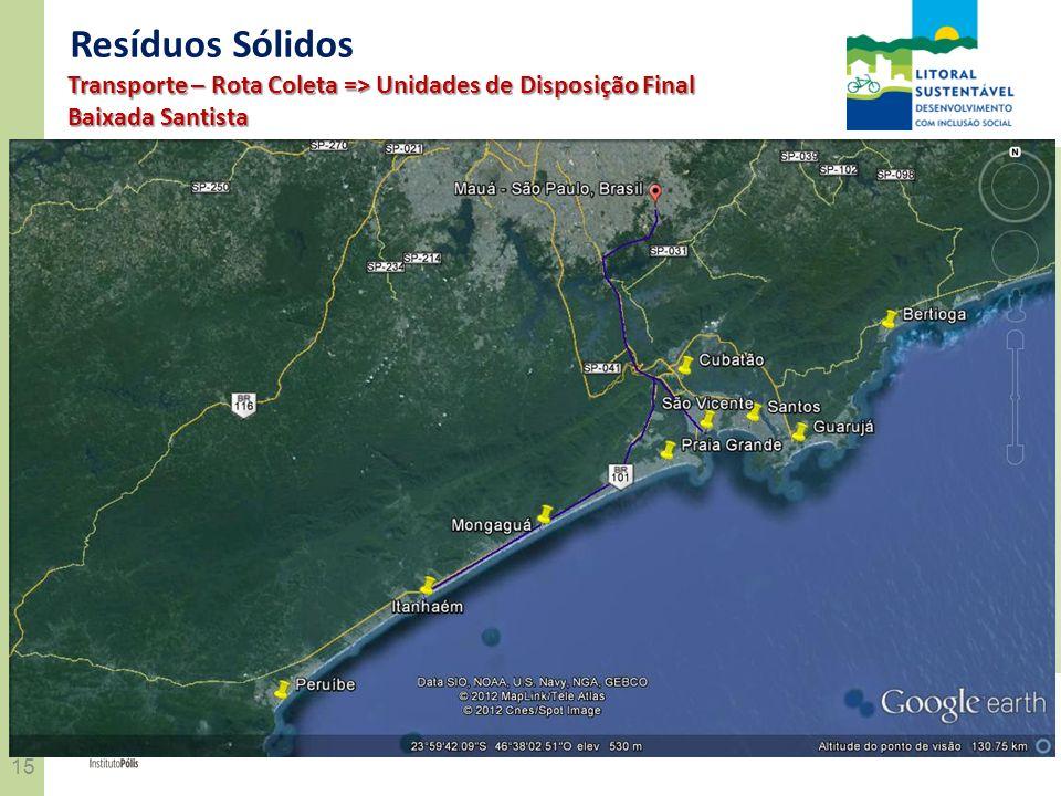 15 REALIZAÇÃOCONVÊNIO Resíduos Sólidos Transporte – Rota Coleta => Unidades de Disposição Final Baixada Santista