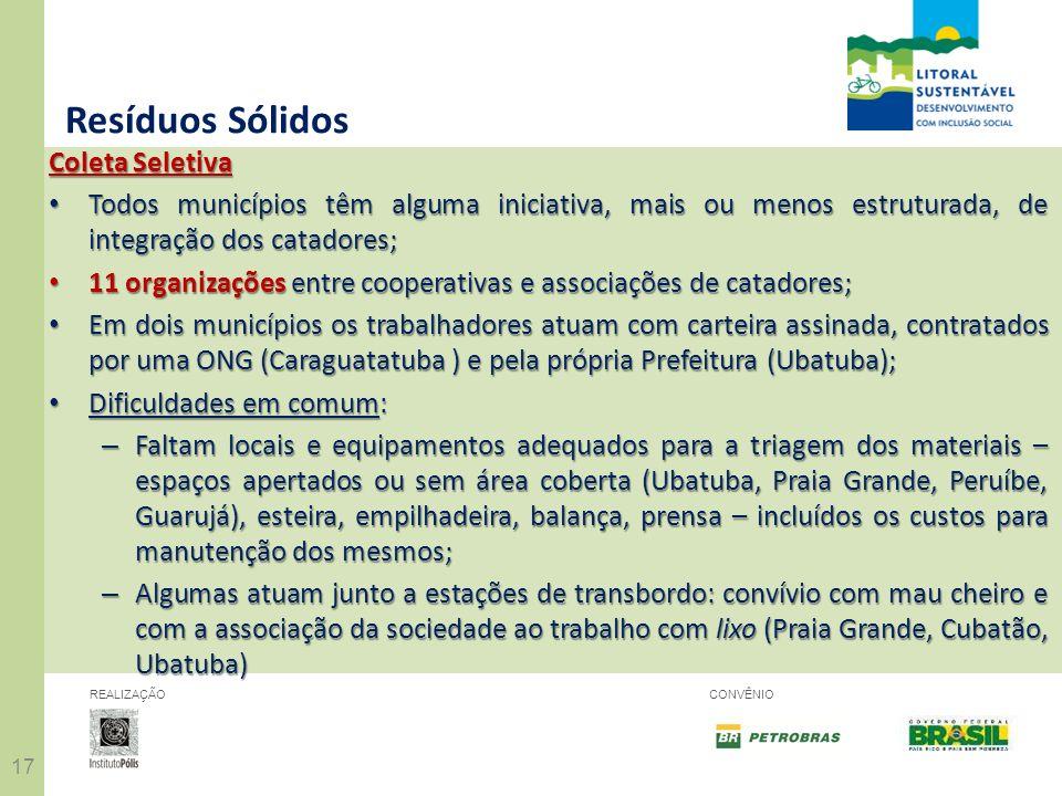 17 REALIZAÇÃOCONVÊNIO Resíduos Sólidos Coleta Seletiva Todos municípios têm alguma iniciativa, mais ou menos estruturada, de integração dos catadores;