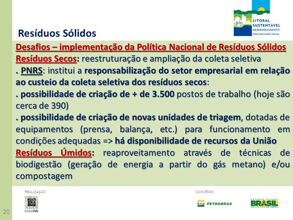 20 REALIZAÇÃOCONVÊNIO Resíduos Sólidos Desafios – implementação da Política Nacional de Resíduos Sólidos Resíduos Secos: reestruturação e ampliação da