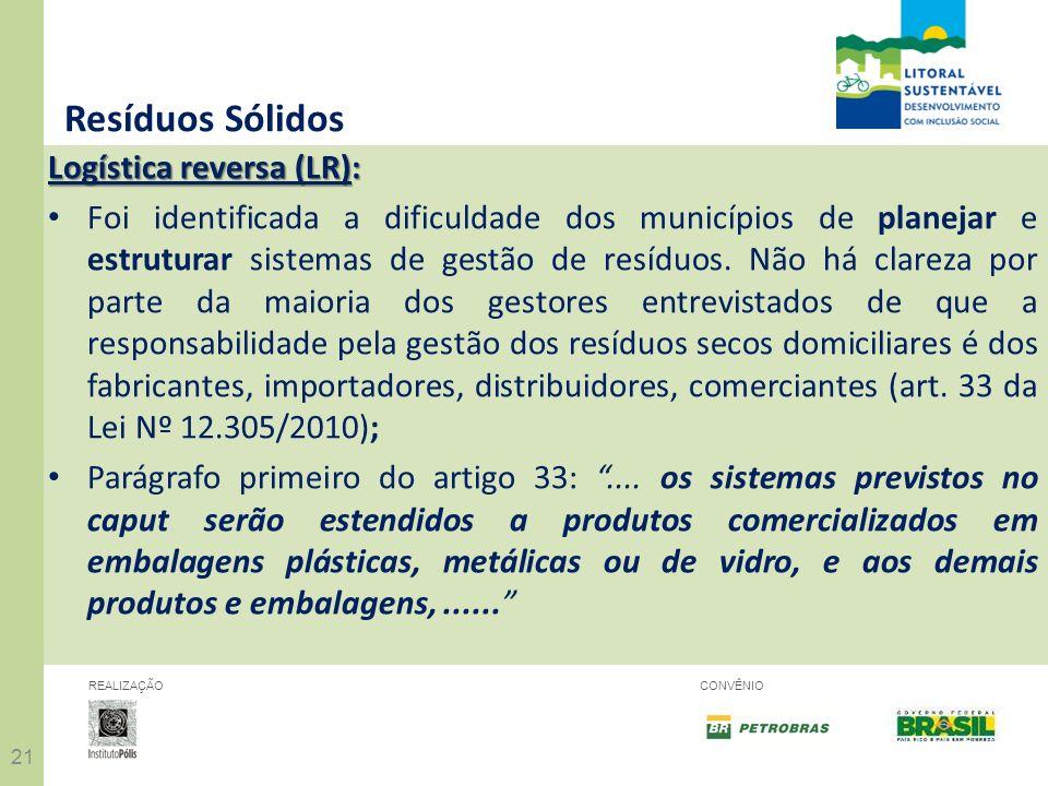 21 REALIZAÇÃOCONVÊNIO Resíduos Sólidos Logística reversa (LR): Foi identificada a dificuldade dos municípios de planejar e estruturar sistemas de gest