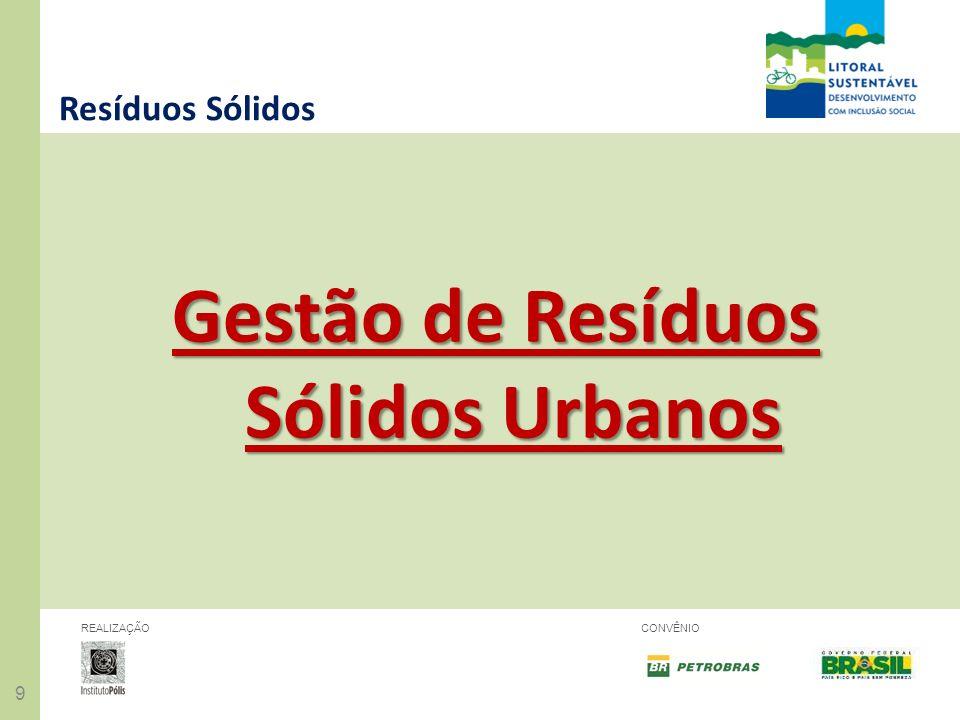 20 REALIZAÇÃOCONVÊNIO Resíduos Sólidos Desafios – implementação da Política Nacional de Resíduos Sólidos Resíduos Secos: reestruturação e ampliação da coleta seletiva.