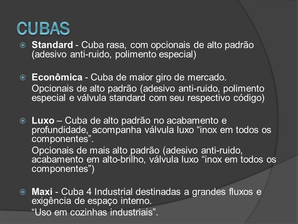 Standard - Cuba rasa, com opcionais de alto padrão (adesivo anti-ruido, polimento especial) Econômica - Cuba de maior giro de mercado. Opcionais de al