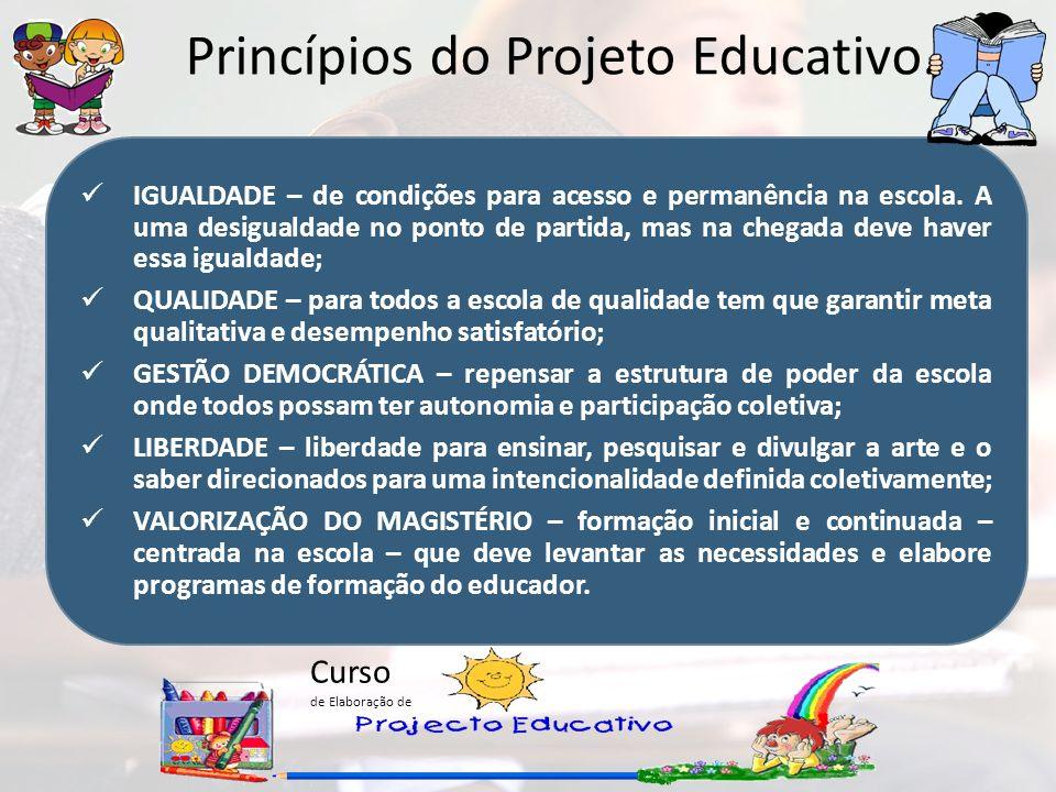 Curso de Elaboração de Princípios do Projeto Educativo. IGUALDADE – de condições para acesso e permanência na escola. A uma desigualdade no ponto de p