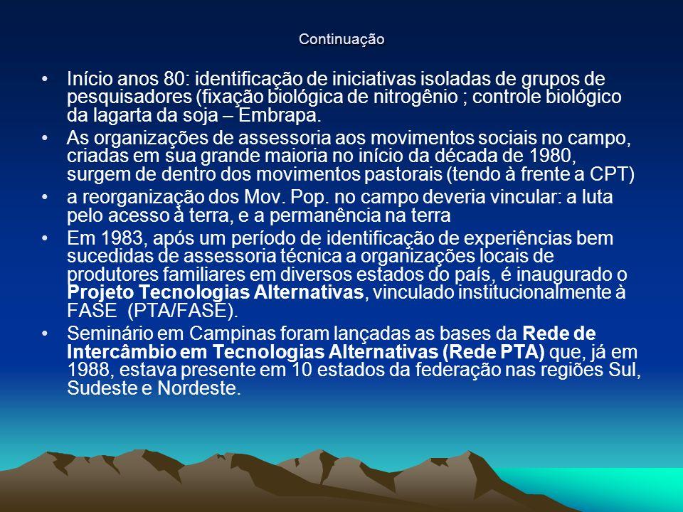 Continuação Início anos 80: identificação de iniciativas isoladas de grupos de pesquisadores (fixação biológica de nitrogênio ; controle biológico da lagarta da soja – Embrapa.