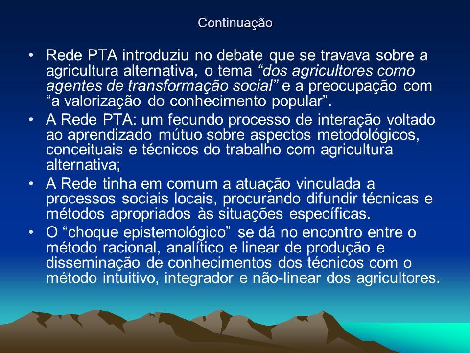 Continuação Rede PTA introduziu no debate que se travava sobre a agricultura alternativa, o tema dos agricultores como agentes de transformação social e a preocupação com a valorização do conhecimento popular.