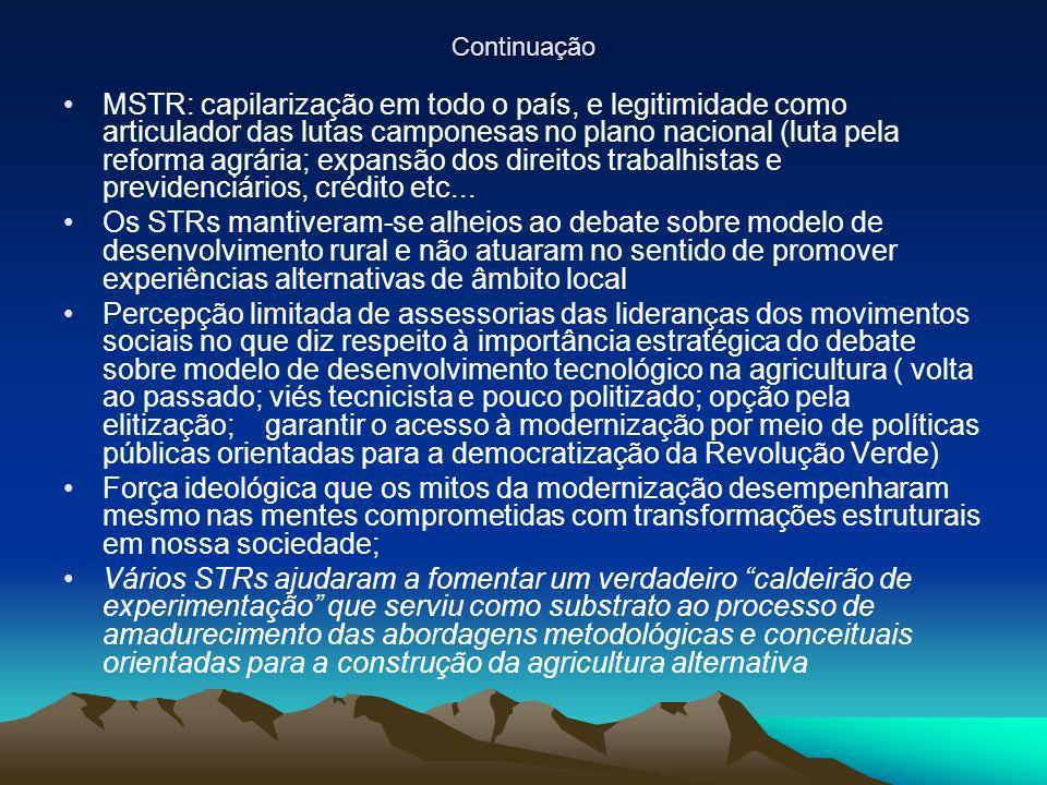 Continuação MSTR: capilarização em todo o país, e legitimidade como articulador das lutas camponesas no plano nacional (luta pela reforma agrária; expansão dos direitos trabalhistas e previdenciários, crédito etc...