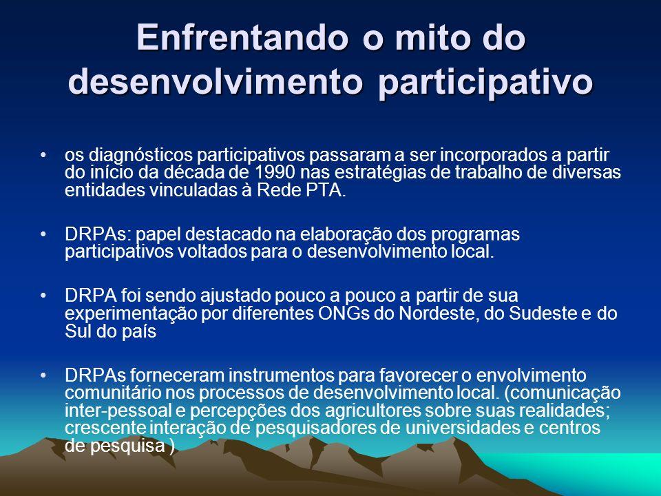Enfrentando o mito do desenvolvimento participativo os diagnósticos participativos passaram a ser incorporados a partir do início da década de 1990 nas estratégias de trabalho de diversas entidades vinculadas à Rede PTA.