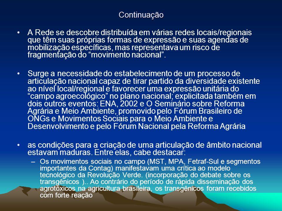 Continuação A Rede se descobre distribuída em várias redes locais/regionais que têm suas próprias formas de expressão e suas agendas de mobilização específicas, mas representava um risco de fragmentação do movimento nacional.