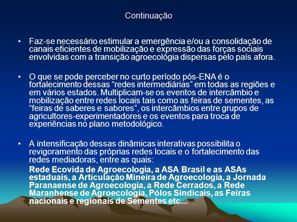 Continuação Faz-se necessário estimular a emergência e/ou a consolidação de canais eficientes de mobilização e expressão das forças sociais envolvidas com a transição agroecológia dispersas pelo país afora.