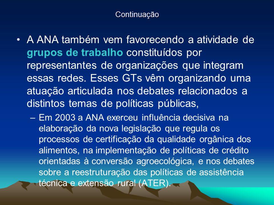 Continuação A ANA também vem favorecendo a atividade de grupos de trabalho constituídos por representantes de organizações que integram essas redes.