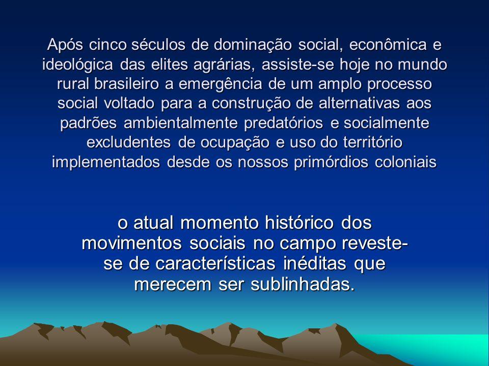 Processos determinantes - década de 1970 A modernização conservadora da agricultura brasileira –rápidas e profundas transformações no padrão tecnológico –intensificação dos processos de exclusão social e de degradação ambiental –conduzida e patrocinada pelo Estado –orientadas para modernizar o latifúndio –como opção à reforma agrária que se afirmava para amplos setores da sociedade –e dos baixos e decrescentes níveis de produtividade do latifúndio tradicional, – permitiram a continuidade do perfil concentrado de distribuição fundiária no país.