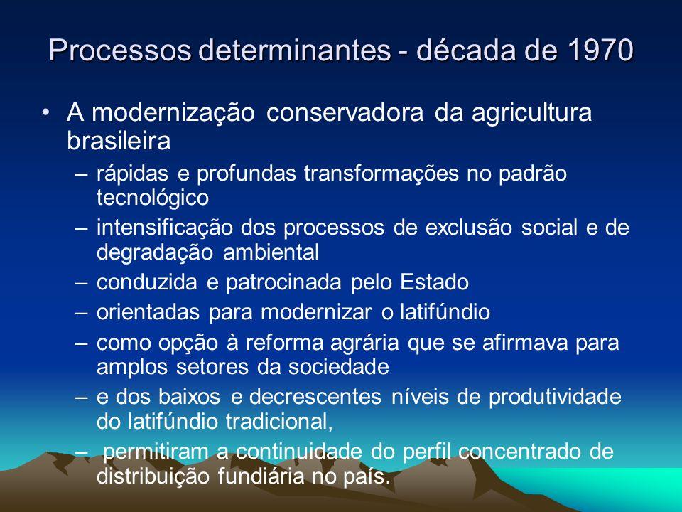 Para garantir a implementação e a consolidação da estratégia modernizadora o Estado brasileiro implementou um conjunto de políticas e programas –novas formas de organização dos mercados –dos complexos agroindustriais –dos sistemas de crédito, pesquisa e extensão rural –e das legislações reguladoras das relações trabalhistas no meio rural.