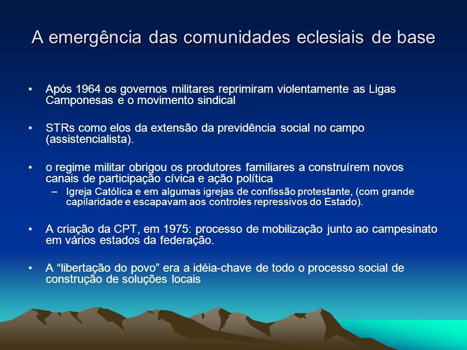 A emergência das comunidades eclesiais de base Após 1964 os governos militares reprimiram violentamente as Ligas Camponesas e o movimento sindical STRs como elos da extensão da previdência social no campo (assistencialista).