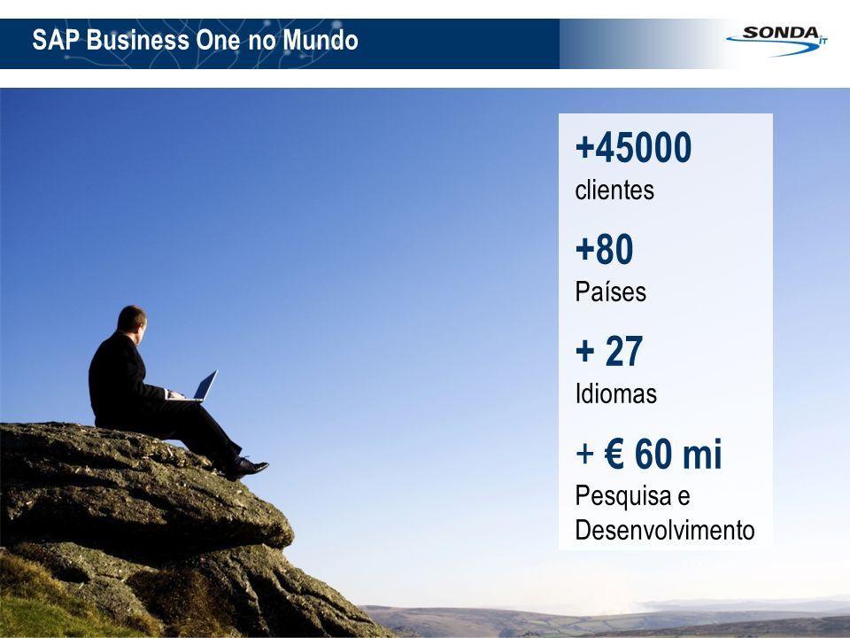 2 SAP Business One no Mundo +45000 clientes +80 Países + 27 Idiomas + 60 mi Pesquisa e Desenvolvimento