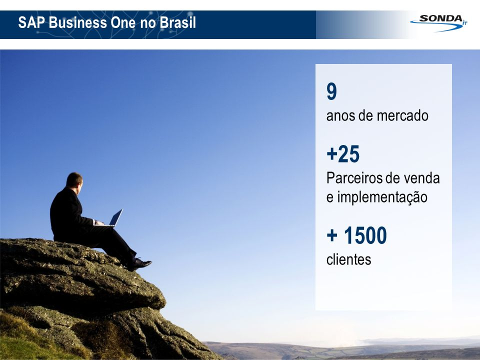 3 SAP Business One no Brasil 9 anos de mercado +25 Parceiros de venda e implementação + 1500 clientes