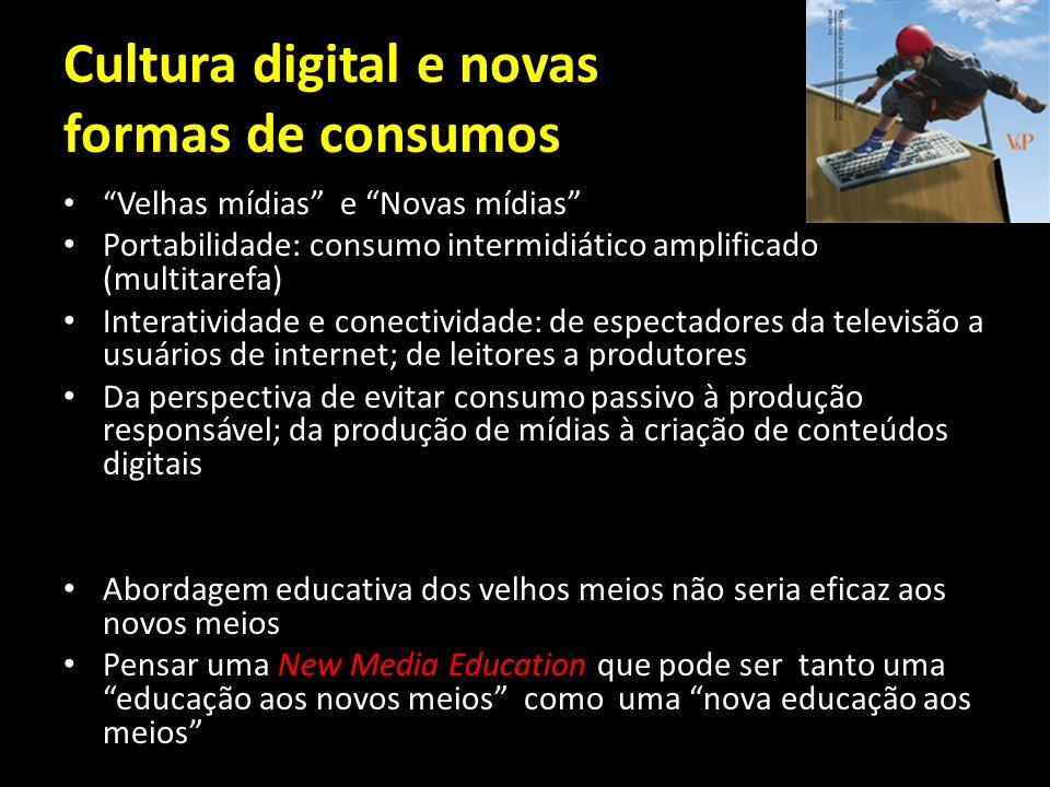 Cultura digital e novas formas de consumos Velhas mídias e Novas mídias Portabilidade: consumo intermidiático amplificado (multitarefa) Interatividade