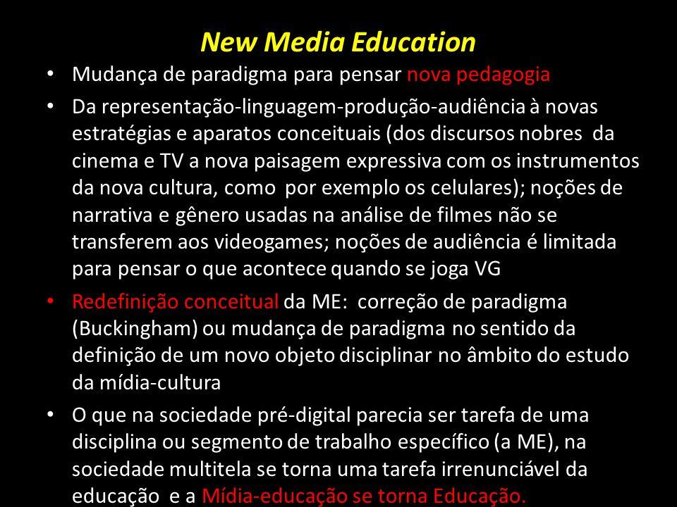 New Media Education Mudança de paradigma para pensar nova pedagogia Da representação-linguagem-produção-audiência à novas estratégias e aparatos conce