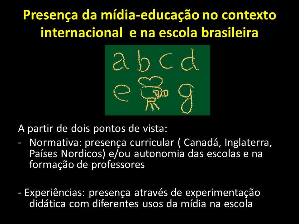 Presença da mídia-educação no contexto internacional e na escola brasileira A partir de dois pontos de vista: -Normativa: presença curricular ( Canadá