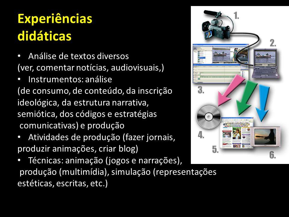 Experiências didáticas Análise de textos diversos (ver, comentar notícias, audiovisuais,) Instrumentos: análise (de consumo, de conteúdo, da inscrição
