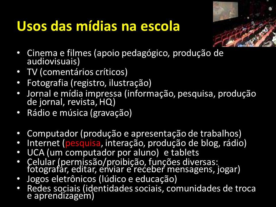 Usos das mídias na escola Cinema e filmes (apoio pedagógico, produção de audiovisuais) TV (comentários críticos) Fotografia (registro, ilustração) Jor