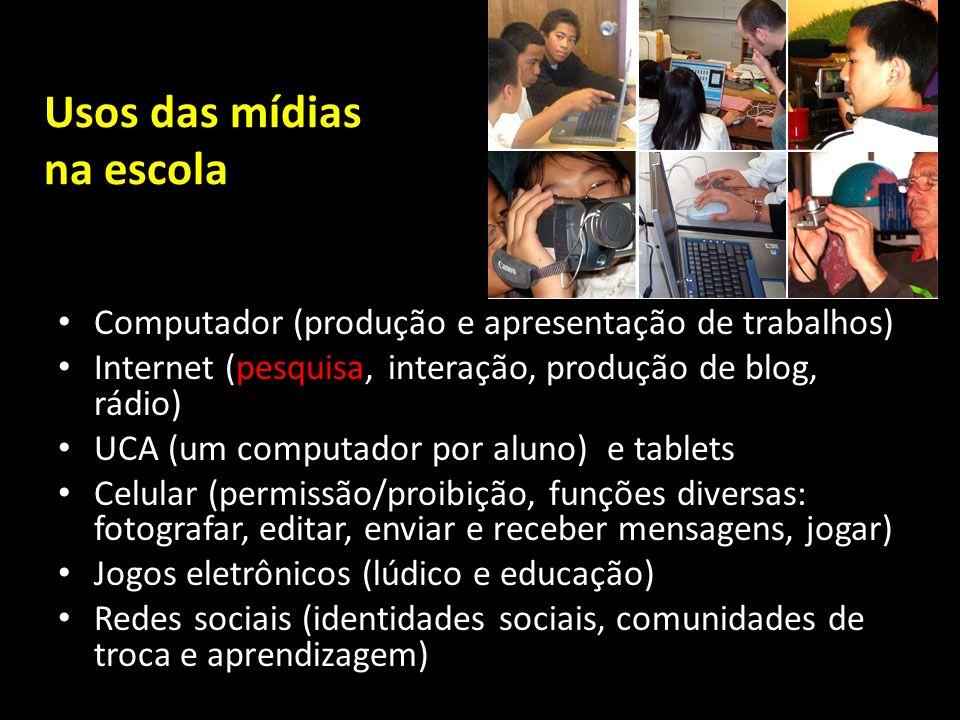 Usos das mídias na escola Computador (produção e apresentação de trabalhos) Internet (pesquisa, interação, produção de blog, rádio) UCA (um computador