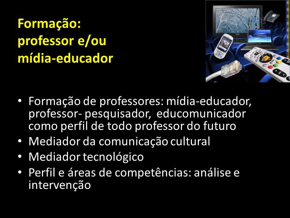 Formação: professor e/ou mídia-educador Formação de professores: mídia-educador, professor- pesquisador, educomunicador como perfil de todo professor