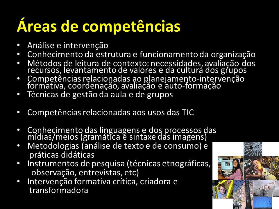 Áreas de competências Análise e intervenção Conhecimento da estrutura e funcionamento da organização Métodos de leitura de contexto: necessidades, ava
