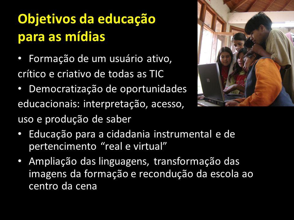 Objetivos da educação para as mídias Formação de um usuário ativo, crítico e criativo de todas as TIC Democratização de oportunidades educacionais: in