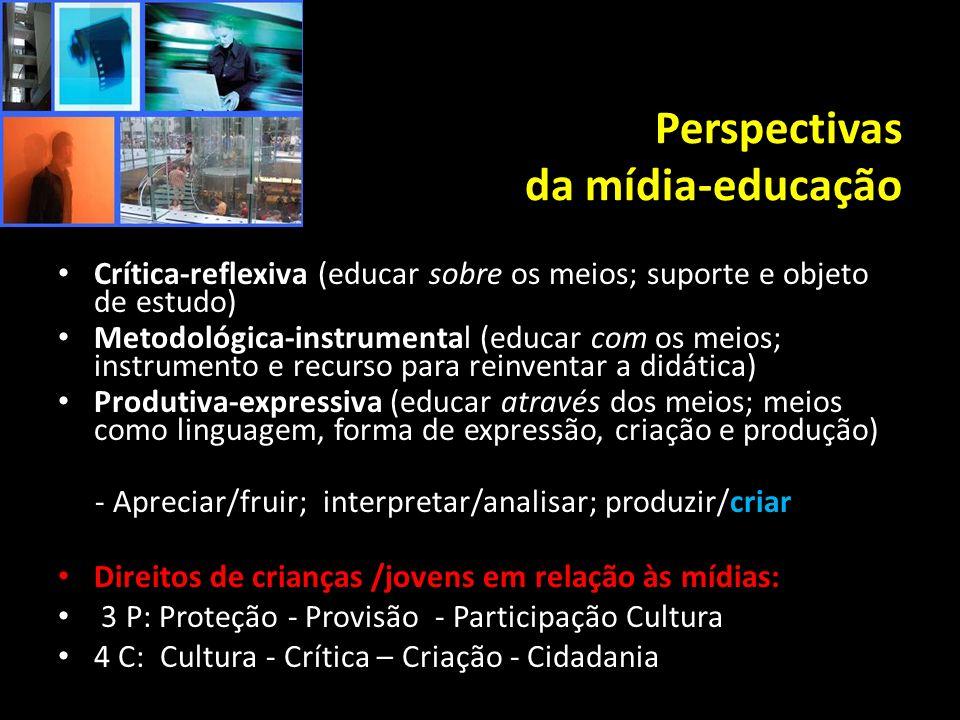 Perspectivas da mídia-educação Crítica-reflexiva (educar sobre os meios; suporte e objeto de estudo) Metodológica-instrumental (educar com os meios; i