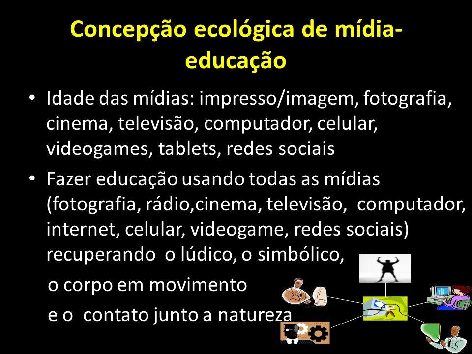 Concepção ecológica de mídia- educação Idade das mídias: impresso/imagem, fotografia, cinema, televisão, computador, celular, videogames, tablets, red