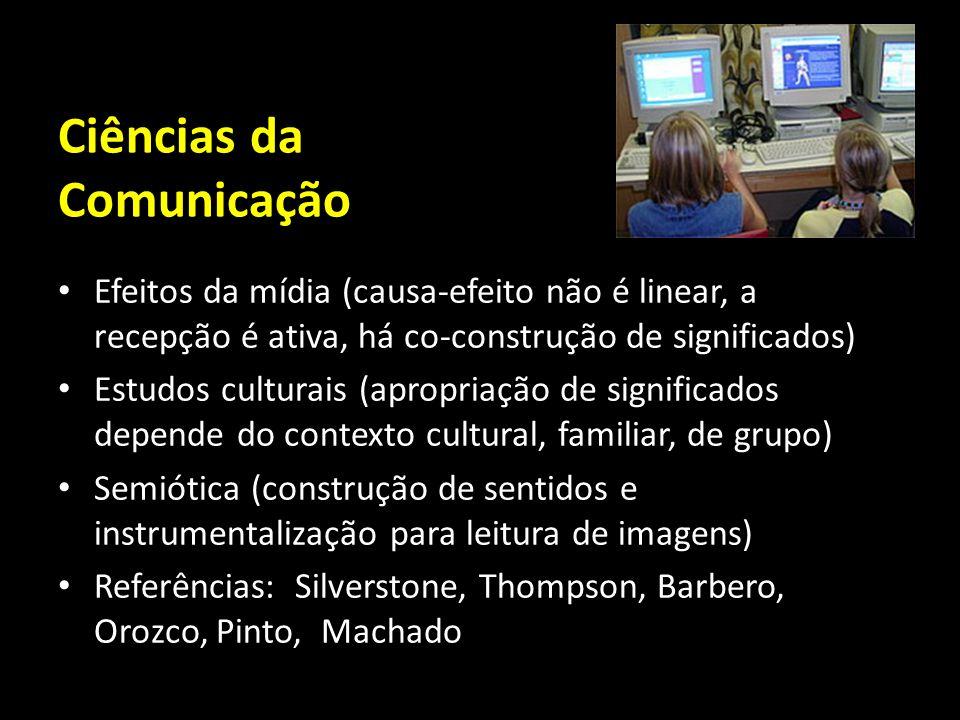 Ciências da Comunicação Efeitos da mídia (causa-efeito não é linear, a recepção é ativa, há co-construção de significados) Estudos culturais (apropria