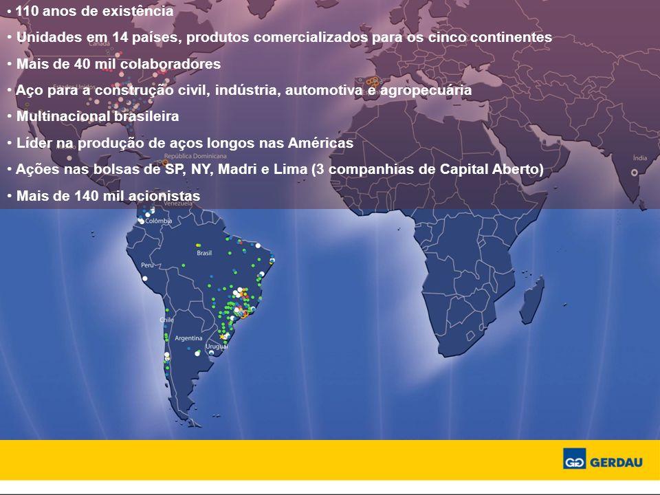 110 anos de existência Unidades em 14 países, produtos comercializados para os cinco continentes Mais de 40 mil colaboradores Aço para a construção ci