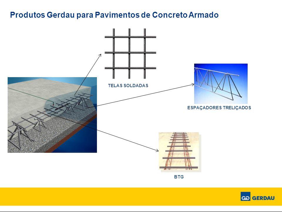 Produtos Gerdau para Pavimentos de Concreto Armado TELAS SOLDADAS ESPAÇADORES TRELIÇADOS BTG