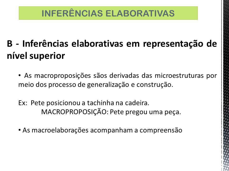B - Inferências elaborativas em representação de nível superior As macroproposições sãos derivadas das microestruturas por meio dos processo de genera
