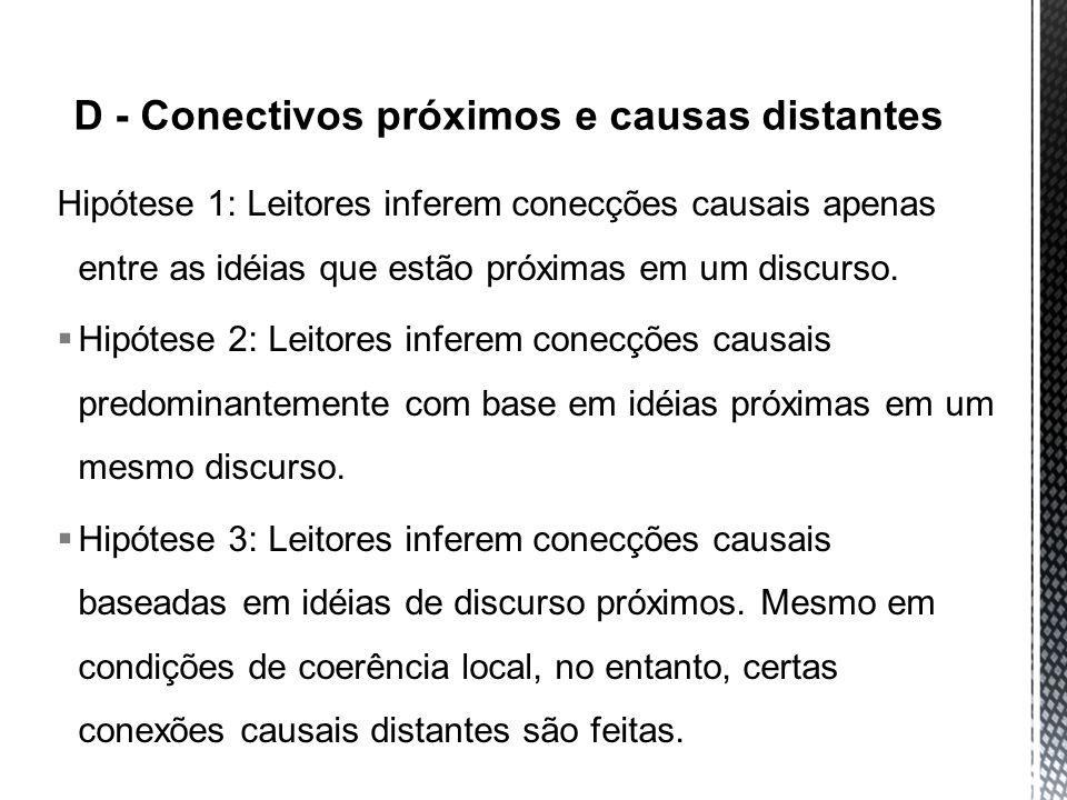 Hipótese 1: Leitores inferem conecções causais apenas entre as idéias que estão próximas em um discurso. Hipótese 2: Leitores inferem conecções causai
