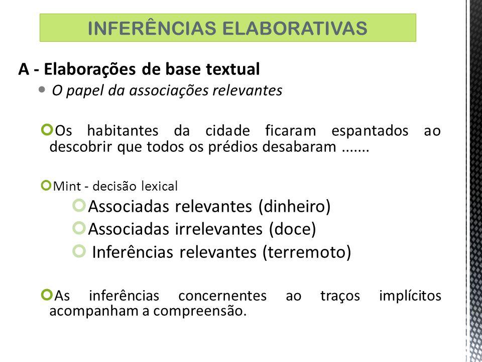 * Considerando os julgamentos das inferências realizadas as pessoas foram mais precisas nas inferências derivadas de inferências temáticas.
