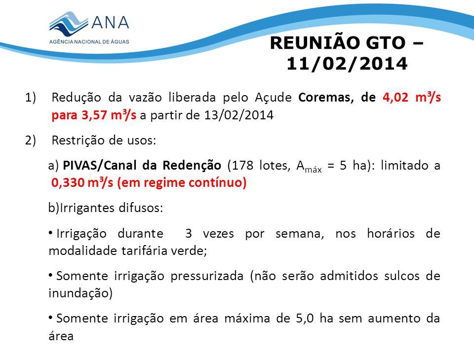 REUNIÃO GTO – 11/02/2014 1)Redução da vazão liberada pelo Açude Coremas, de 4,02 m³/s para 3,57 m³/s a partir de 13/02/2014 2)Restrição de usos: a) PIVAS/Canal da Redenção (178 lotes, A máx = 5 ha): limitado a 0,330 m³/s (em regime contínuo) b)Irrigantes difusos: Irrigação durante 3 vezes por semana, nos horários de modalidade tarifária verde; Somente irrigação pressurizada (não serão admitidos sulcos de inundação) Somente irrigação em área máxima de 5,0 ha sem aumento da área