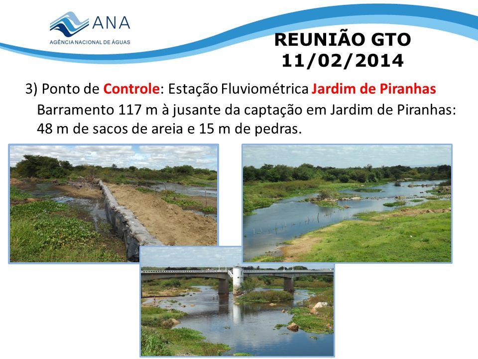 REUNIÃO GTO 11/02/2014 3) Ponto de Controle: Estação Fluviométrica Jardim de Piranhas Barramento 117 m à jusante da captação em Jardim de Piranhas: 48
