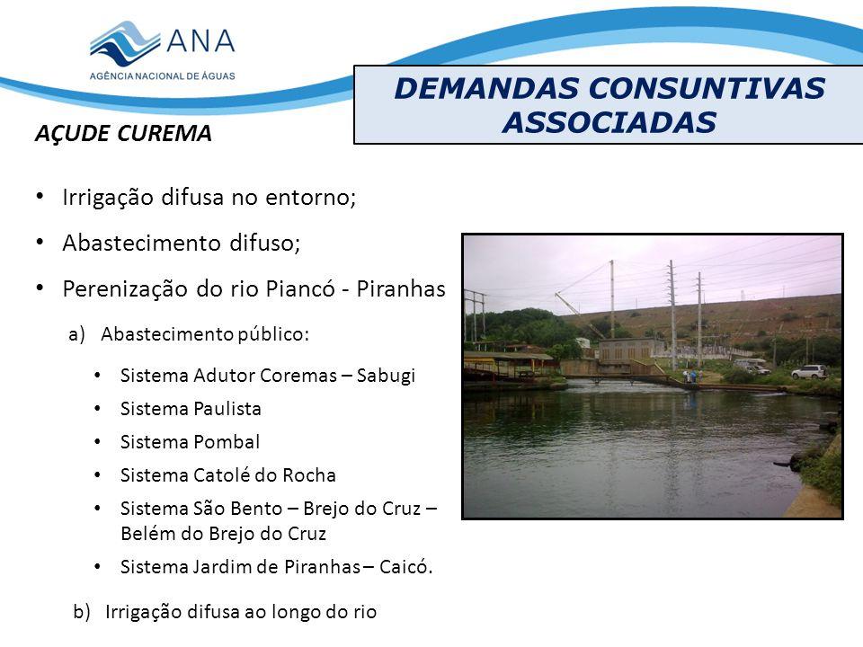 DEMANDAS CONSUNTIVAS ASSOCIADAS AÇUDE CUREMA Irrigação difusa no entorno; Abastecimento difuso; Perenização do rio Piancó - Piranhas b) Irrigação difu