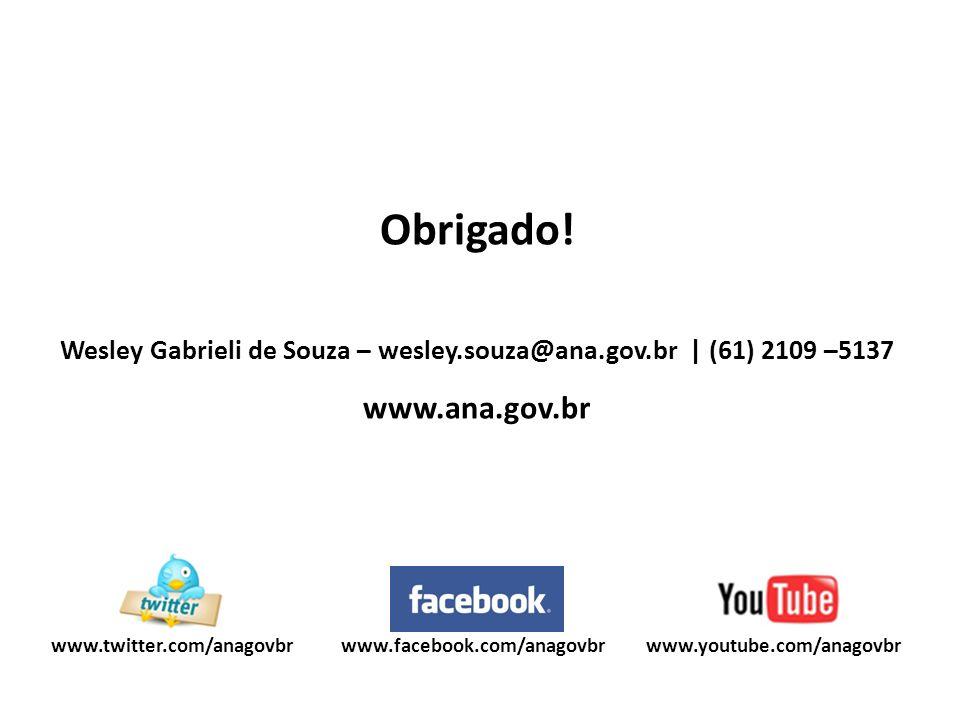 www.youtube.com/anagovbrwww.twitter.com/anagovbr Obrigado! Wesley Gabrieli de Souza – wesley.souza@ana.gov.br | (61) 2109 –5137 www.ana.gov.br www.fac